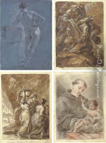 Scenes From The OldAnd New Testament And Classical Mythology Oil Painting - Guiseppe Piattoli