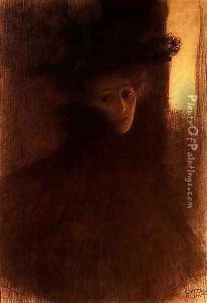 Lady With Cape Oil Painting - Gustav Klimt