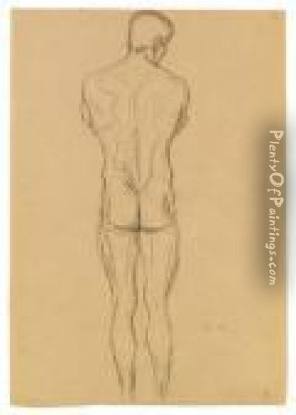 Male Nude Back  Sketch For  This Kiss To The Whole World Oil Painting - Gustav Klimt
