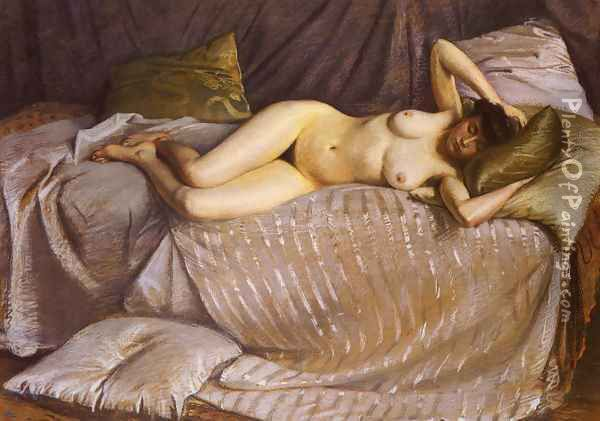 Femme Nue Etendue Sur Un Divan (Naked Woman Lying on a Couch) Oil Painting - Gustave Caillebotte