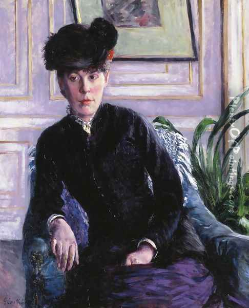 Portrait Of A Young Woman In An Interior Aka Portrait Of Madame H Oil Painting - Gustave Caillebotte