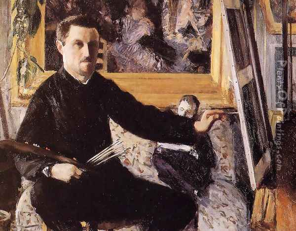 Self Portrait With Easel Oil Painting - Gustave Caillebotte