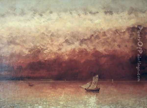 Lake Leman with Setting Sun, c.1876 Oil Painting - Gustave Courbet