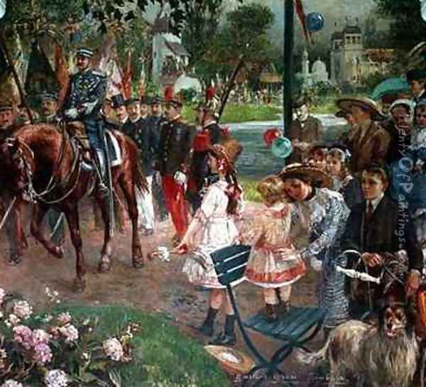 The March past to the Exhibition at Roubaix Oil Painting - Gustave Grau