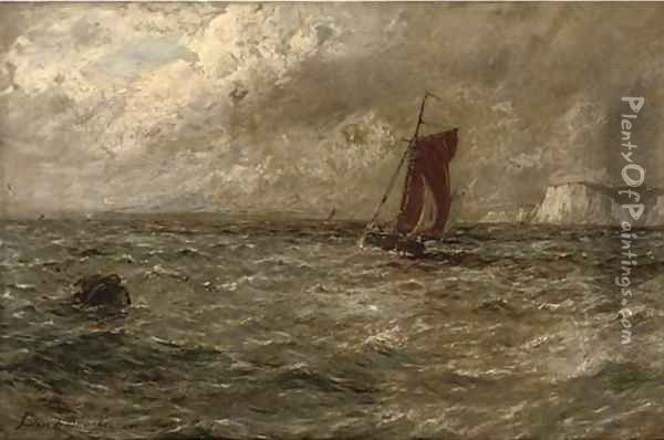 A fishing boat off a coastline, in a stormy sea Oil Painting - Gustave de Breanski