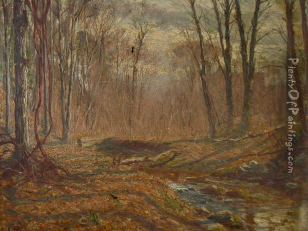 Fall Landscape With Trees And Stream Oil Painting - Hal Robinson