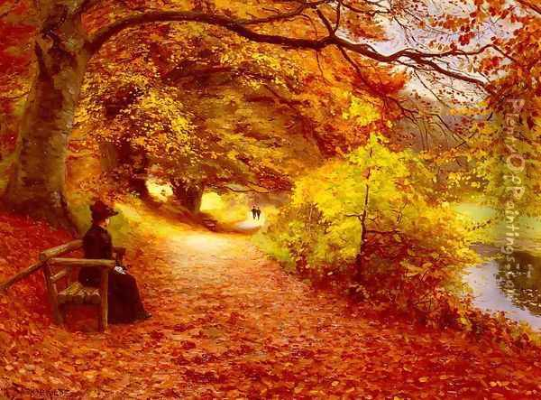 A Wooded Path In Autumn Oil Painting - Hans Anderson Brendekilde
