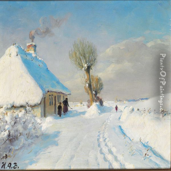 Sunny Winter Day With Mother And Child In Front Of A Cottage Oil Painting - Hans Anderson Brendekilde