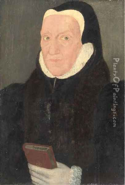 Portrait of a lady, quarter-length, in a black coat with a white ruff, holding a book Oil Painting - Hans Holbein the Younger