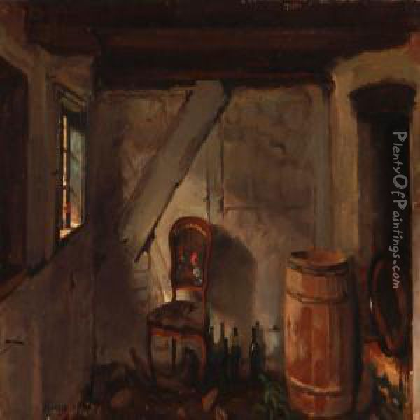 Delicieux An Old Country Kitchen Oil Painting   Hans Ludvig Smidth