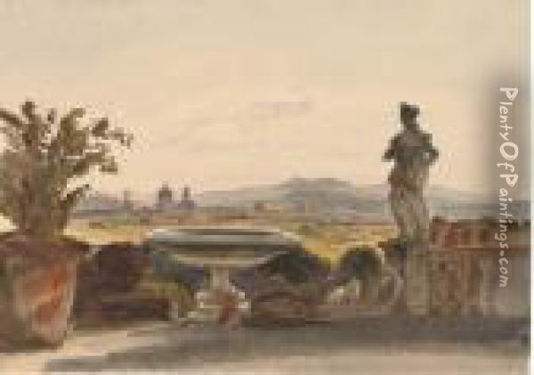 View Of Florence From The Terrace Of Boccaccio's Villa Oil Painting - Harriet Cheney
