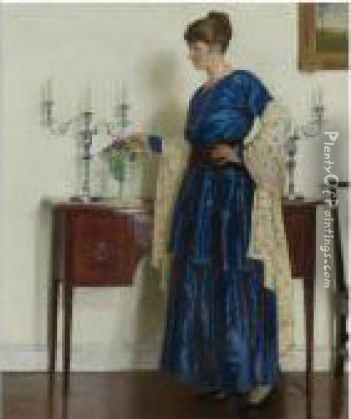 Woman By The Sideboard, Portrait Of The Artist's Wifegertrude Oil Painting - Harvey Harold