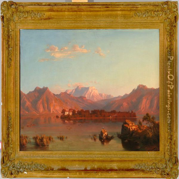 German River Scene At Sunset Oil Painting - Heinrich Funk