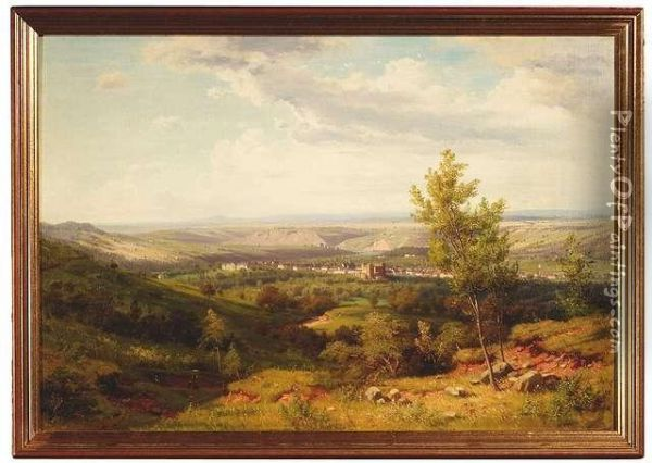 Wide Swabian Landscape With View Of Castle Rosenstein And Bad Cannstatt Near Stuttgart. Addition: The Artist's Oil Sketch For This Painting Oil Painting - Heinrich Funk
