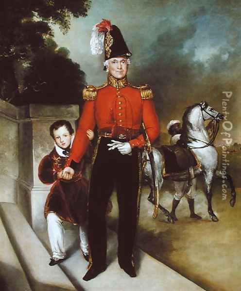 General Sir James Dennis 1778-1855 with his son, a syce leading away his charger 1843 Oil Painting - Heinrich Schaeffer
