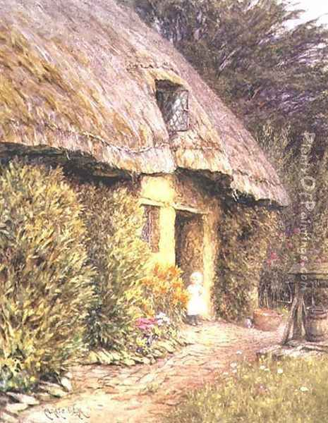 A Child at the Doorway of a Thatched Cottage Oil Painting - Helen Mary Elizabeth Allingham