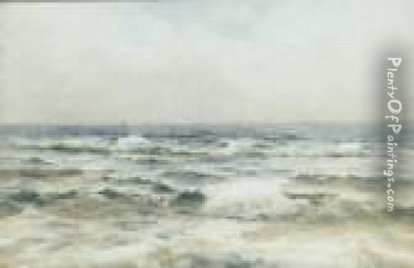 Seagulls Over Surf Oil Painting - Helen O'Hara