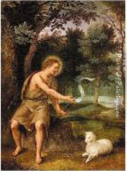 Landscape With Saint John The Baptist Oil Painting - Hendrick De Clerck