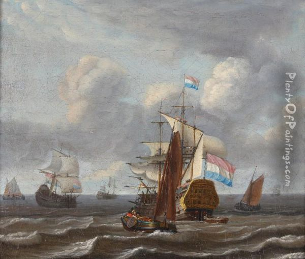 Seascape In Stormyweather With A Dutch Man-of-war And Small Freightships Under Aheavily Clouded Sky Oil Painting - Hendrick Dubbels