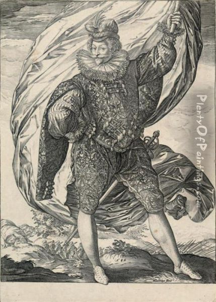 The Standard-bearer Standing, Facing Right Oil Painting - Hendrick Goltzius