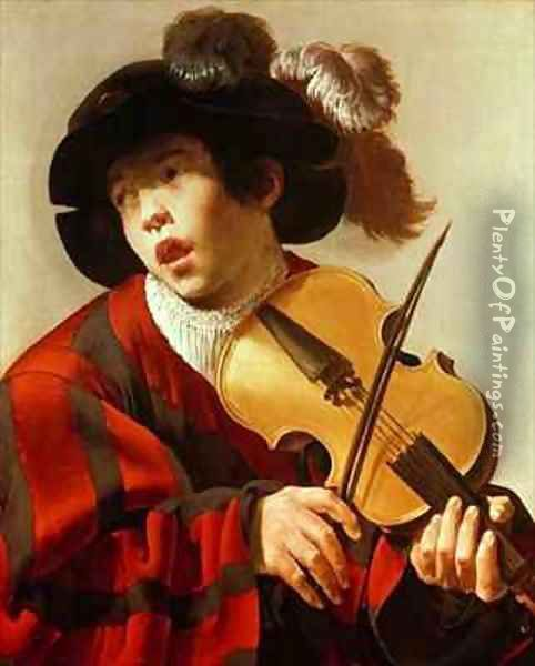 Boy Playing Stringed Instrument and Singing Oil Painting - Hendrick Ter Brugghen