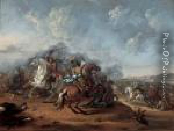 A Cavalry Skirmish Oil Painting - Hendrick Verschuring