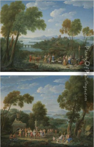 A Classical Landscape With A Sacrifice Before A Term Ofpan Oil Painting - Hendrik Frans Van Lint