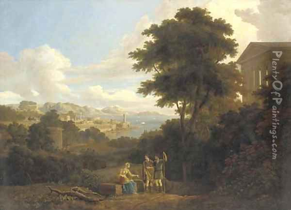 A classical landscape with figures conversing on a hilltop near a temple, a coastal town beyond Oil Painting - Hendrik Frans Van Lint
