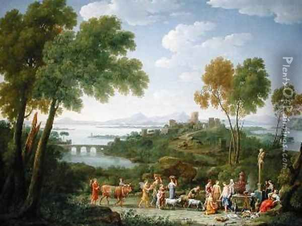 An Extensive Italianate Landscape with a Sacrifice 1728 Oil Painting - Hendrik Frans Van Lint
