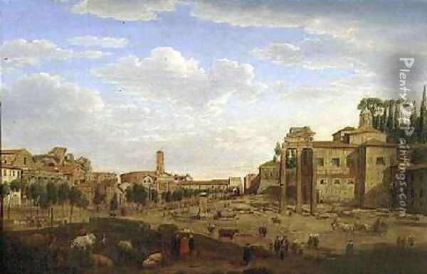 The Campo Vaccino Rome Oil Painting - Hendrik Frans Van Lint