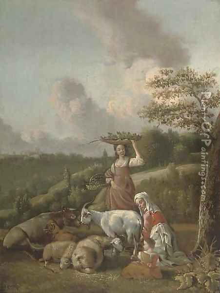 A mother and child milking a goat and a girl carrying baskets of fruit and vegetables in a wooded landscape Oil Painting - Hendrik Mommers