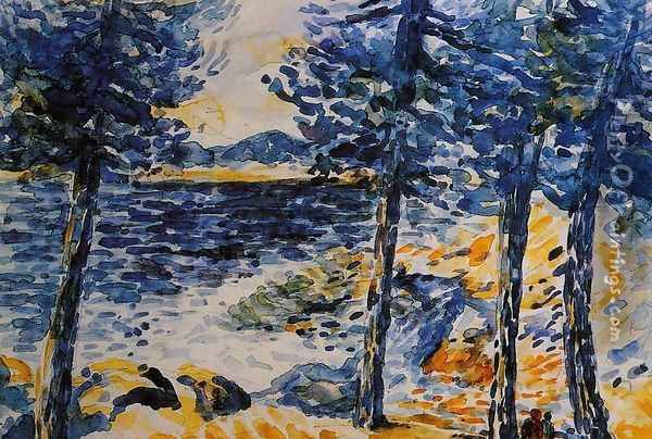 Pines by the Sea Oil Painting - Henri Edmond Cross
