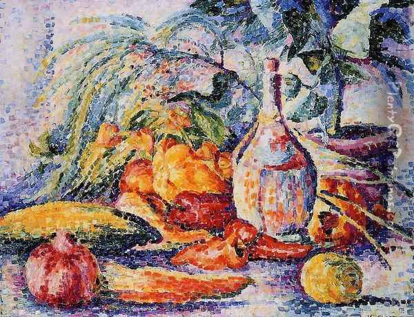 Still Life with Bottle of Wind Oil Painting - Henri Edmond Cross