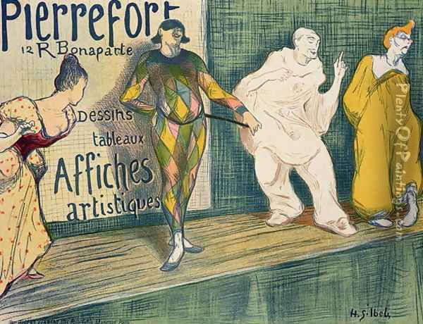 Reproduction of a poster advertising Pierrefort Artistic Posters Rue Bonaparte Oil Painting - Henri-Gabriel Ibels