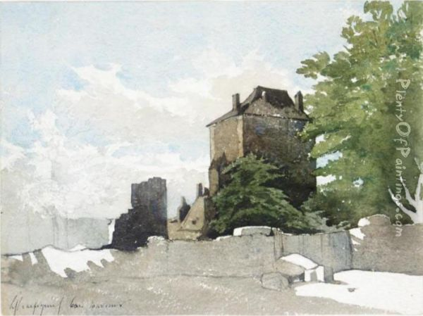 A House And Other Buildings Within A Walled Garden Oil Painting - Henri-Joseph Harpignies