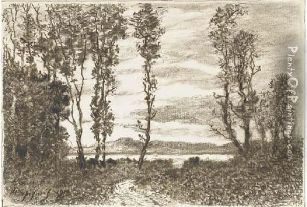 A Path Through A Wood Leading To A Lake, Hills In Thedistance Oil Painting - Henri-Joseph Harpignies