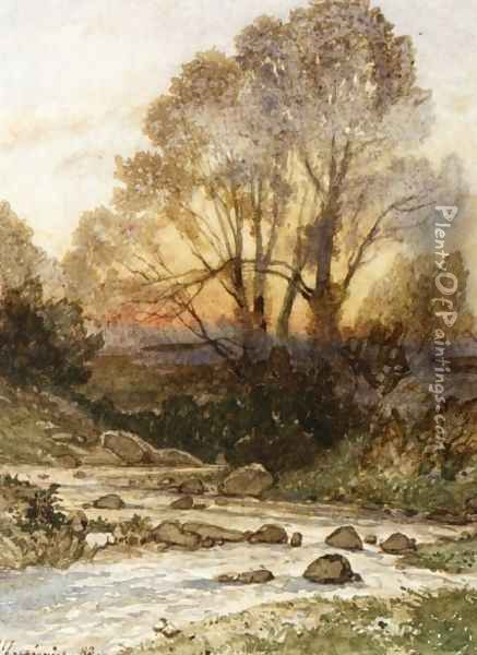 A Rocky Landscape with a Torrent of Water Oil Painting - Henri-Joseph Harpignies