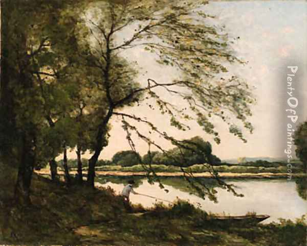 Fishing on the Banks of a River Oil Painting - Henri-Joseph Harpignies