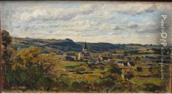 Le Village De Chastelay Oil Painting - Henri-Joseph Harpignies