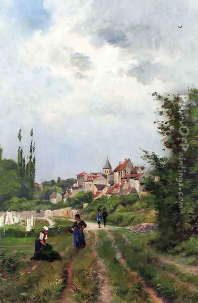 Washer Women_On A Sandy Track With A Village Beyond Oil Painting - Henri-Joseph Harpignies