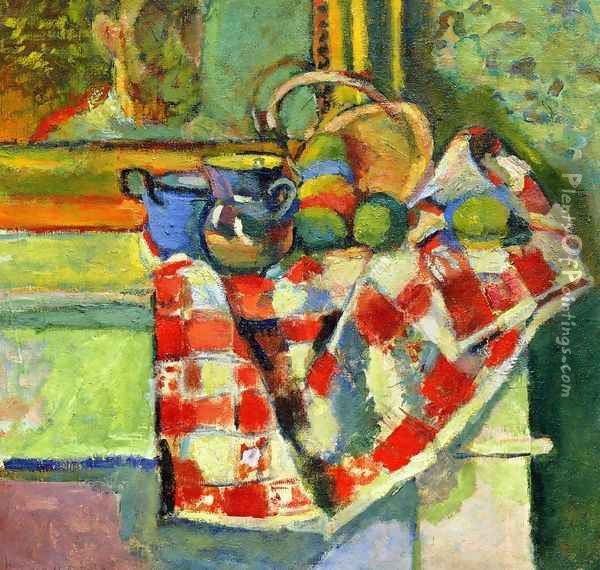 Still Life, Checked Tablecloth Oil Painting - Henri Matisse