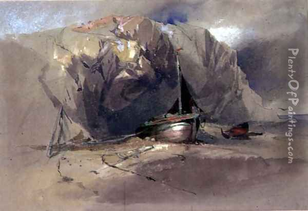 A Fishing Smack and a Small Boat drawn up on the Shore Beneath a Rocky Cliff Oil Painting - Henry Bright