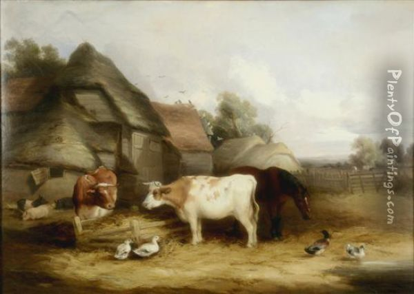 Stable Yard With Cattle, Pigs And Ducks Oil Painting - Henry Bryant