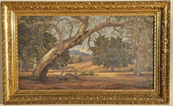 Unsigned Oil On Canvas Depicting A California Pastoral Landscape Oil Painting - Henry Chapman Ford