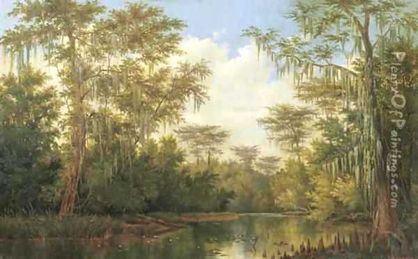 Water Lilies and Spanish Moss Oil Painting - Henry Chapman Ford