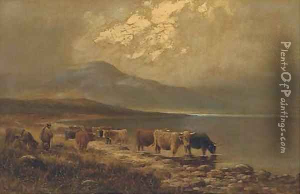 By the shores of Loch Goil, Inverness-shire Oil Painting - Henry Hadfield Cubley