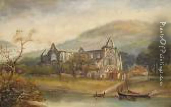 Tintern Abbey;chepstow Castle Oil Painting - Henry Harris