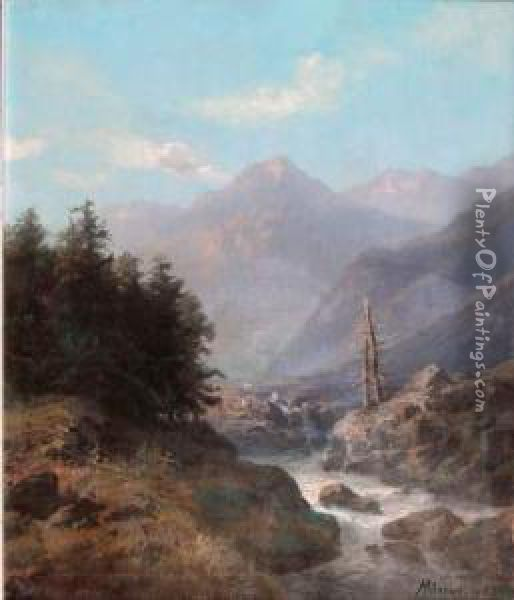 Paysage De Montagne Au Torrent Oil Painting - Henry Mosny