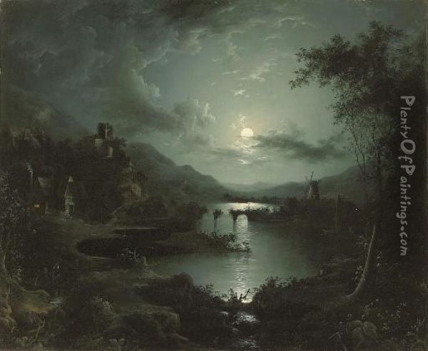 A Cottage And Castle Along A Moonlit River, A Windmill Beyond Oil Painting - Henry Pether