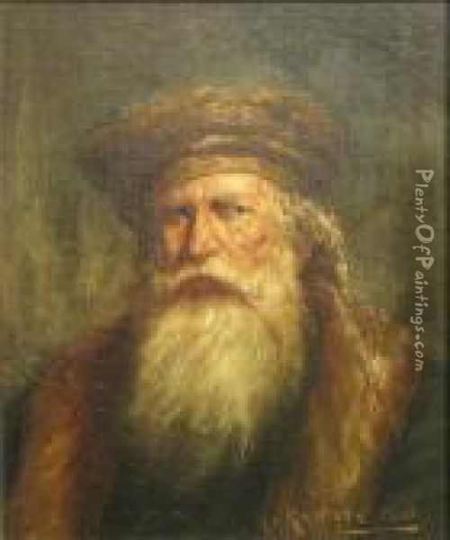 A Portrait Of A Bearded Gentleman With A Hat Oil Painting - Henry Raschen
